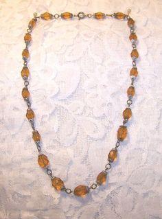 Vintage Amber Color Crystal Bead Necklace Crystal Bead Necklace, Crystal Beads, Beaded Necklace, Crystals, Amber Color, Vintage, Jewelry, Fashion, Beaded Collar