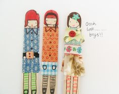 Washi tape puppets made with wooden popsicle sticks....teawagontales
