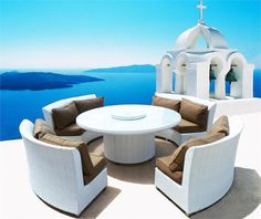 COASTAL COLLECTION CASSANDRA ROUND OUTDOOR WICKER DINING SOFA SET (PATIO FURNITURE) ETHEREAL WHITE