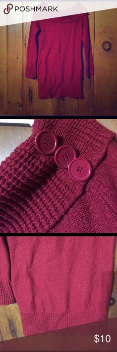 Sweater Red turtle neck sweater with buttons on the left shoulder. Fitted bottom Pink Rose Sweaters Cowl & Turtlenecks