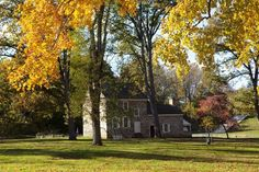 General George Washington's ORIGINAL stone headquarters completes a picturesque autumn scene at Valley Forge Park.: