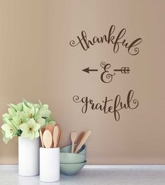 Thankful & Grateful Elegant Vinyl Wall Decals Fall or Kitchen Lettering - Wall Decor Plus More