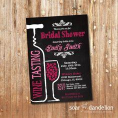 Wine Tasting Bridal Shower Printable Invitation. Chalkboard. Pink Shower on Etsy, $9.90