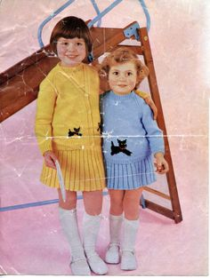 PDF Instant Download Vintage 1960's Knitting Pattern.  A cute knit set for girls: jumper + cardigan with a scottie dog motif and rib skirt.