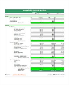 Home Budget Planner Template   House Budget Template  Benefit