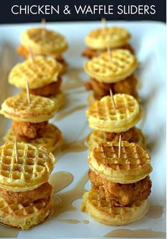 Turn a Southern favorite into a bite-sized treat with this Chicken & Waffle Sliders recipe! Your guests will adore the maple syrup drizzle on top. Yum.