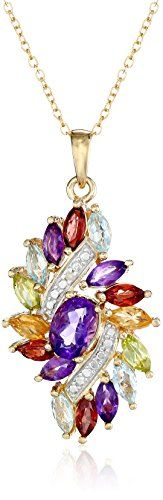 18k Yellow GoldPlated Sterling Silver Diamond and MultiGemstone Cluster Pendant Necklace 001cttw *** Check this awesome product by going to the link at the image.