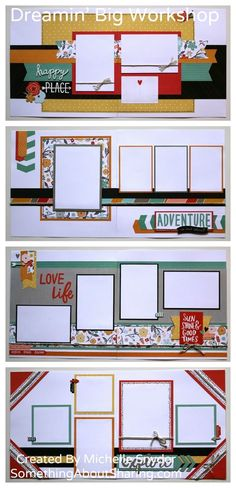 Four fun layouts from one simple Workshop Guide. Click here for more. Love the colors, papers, and accessories in CTMH Dreamin' Big. #SomethingAboutSharing #ctmhdreaminbig #scrapbooking #ctmh