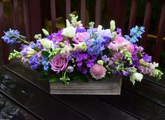 Flower gift box handcrafted by Fleurelity in pink, light blue, violet and purple color tones. Flowers For You, Cut Flowers, Purple Flowers, Unusual Flowers, Beautiful Flowers, Wedding Flower Decorations, Wedding Flowers, Flower Crafts, Flower Art