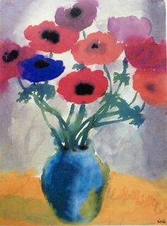 Emil Nolde: Anemones in a Blue Vase, after watercolor on japanese paper Emil Nolde, Paul Klee, Flower Pots, Potted Flowers, Japanese Paper, Paper Dimensions, Claude Monet, Game Art, Art Museum