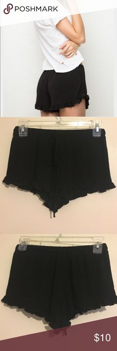 BLACK // Ruffle shorts Black tie shorts!   >Similar in style to Brandy Melville brand. >Short with a tie waist  >Never worn!  >Size Small Brandy Melville Shorts