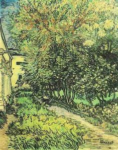Vincent van Gogh: The Garden of Saint-Paul Hospital (the asylum). Oil on canvas. Saint-Remy:May, 1889. Otterlo: Kroller-Muller Museum.