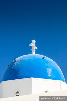 Typical blue domed church against the deep blue sky. Picture was photographed in Firostefani, Santorini. White Building, Greek Islands, Beautiful Islands, Taj Mahal, Branding Design, Blue And White, Santorini Greece, Pictures, Photos