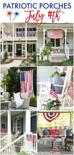 Patriotic Porches - Fourth of July Porch Decor: Patriotic Porch Ideas - Fourth of July Porches - July Porch Ideas by On Sutton Place Balloon Topiary, Home Decor Inspiration, Decor Ideas, Porch Styles, Bouquet Holder, Summer Porch, Country Chic Cottage, Sutton Place, Rooms For Rent