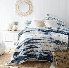 Beautiful Indigo Bed Linen  #indigobedcover #naturaltextures