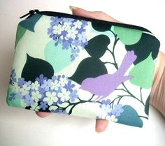 Lavender Bird Zipper Pouch Little padded Coin Purse Gadget case by JPATPURSES, $8.00