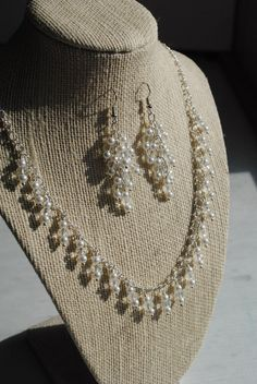 Crystal and Pearl Wedding Jewelry Set Bridal by MommysDream, $60.00