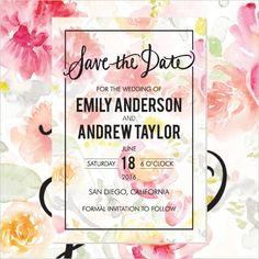 Floral Save the Date Pattern from B Wedding Invitations @weddingchicks