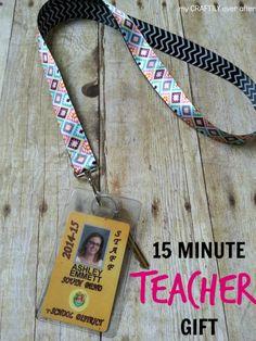 15 minute teacher gift - double sided ribbon lanyard