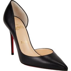 Christian Louboutin Iriza Half d'Orsay Pumps (6.310 ARS) ❤ liked on Polyvore featuring shoes, pumps, heels, christian louboutin, louboutin, black d orsay pumps, black pumps, black stilettos, christian louboutin stilettos and black shoes