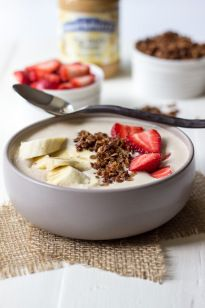 Peanut Butter, Banana and Oatmeal Smoothie Bowl with Homemade Granola and Fruit | The Beach House Kitchen