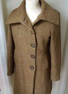 New Look Tweed Coat Wool Blend Fitted Brown Size 14  Returns Accepted - No Quibble Money Back Guarantee!  This is a smart Tweed coat