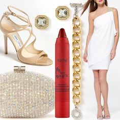 "Dress, jewels and clutch by Caché. Shoes by Jimmy Choo and lip stain from Tarte in ""Fiery Red"""