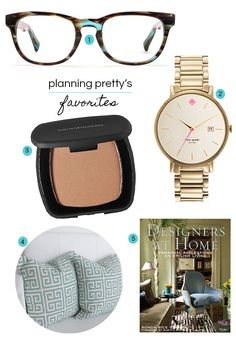 My Favorite Things - kate spade watch, warby parker glasses, skoope pillows, bare minerals foundation, Decorators at Home