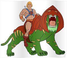 He-man and BattleCat Filmation Style Poster 80s Cartoon Shows, Classic Cartoon Characters, Classic Cartoons, Cartoon Logo, Cartoon Art, He Man Tattoo, He Man Desenho, He Man Thundercats, Comic Anime