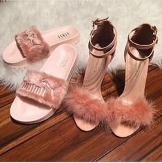 270c0e86aaa shoes puma rihanna fenty x puma fluffy flip flops slippers pink pink heels fluffy  fur light