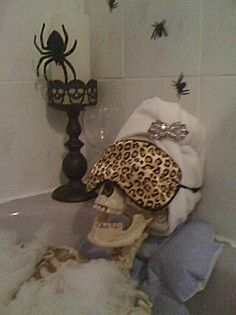 Halloween party - fill the tub with bubbles, set a skeleton to relax.