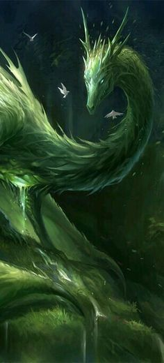 Green dragon of the forest. Beautiful tree dragon fantasy creature concept art inspiration ideas, grass dragon, guarding the nature on the meadow  before the forest. With green scales wings, and green eyes and horns.