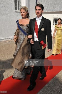 Princess Theodora and her brother Prince Nikolaos of Greece arrive to attend the wedding between Prince Joachim of Denmark and Marie Cavallier on May 24, 2008 at the Mogeltonder church in Mogeltonder, Denmark.