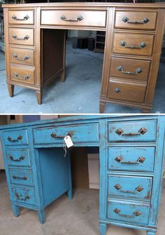 DESK FINISH: Old ugly thrift store brown desk turned into a quaint vanity or entryway mail table via blue crackle paint. Add an even more modern take by updating the handles too!