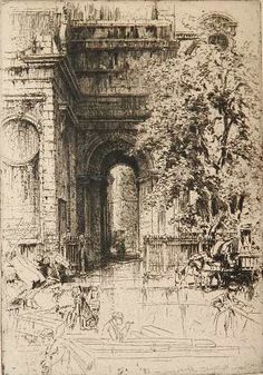 Hedley Fitton- ''Porch of St. Magnus The Martyr, London Bridge''- etching Architecture Antique, Architecture Drawings, Bridge Drawing, Building Drawing, London Bridge, Mural Art, Heritage Image, Printmaking, Illustrators