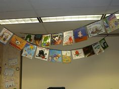 when my classroom books fall apart,I'm going to do this. book bunting for the classroom library Classroom Setting, Classroom Setup, Classroom Design, Future Classroom, Reading Corner Classroom, Book Corner Eyfs, Classroom Displays Eyfs, Classroom Library Checkout, Year 3 Classroom Ideas