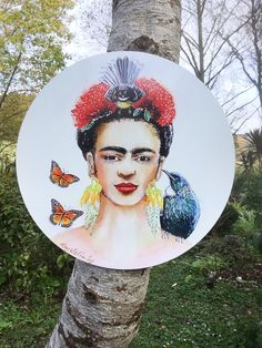 Frida Kahlo with NZ Tui and Fantail birds, Pohutukawa & Kowhai Flowers, Monarch Butterflies, Inside or Outdoor Circle Art Panel, Garden Art by KiwiSilks on Etsy Tui Bird, Outdoor Wall Art, Circle Art, Online Gift, Hair Decorations, Panel Art, Color Blending, Monarch Butterfly, Silk Painting