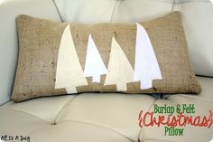 diy christmas decor, diy christmas pillow, burlap pillow with felt trees