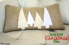 diy christmas decor, diy christmas pillow, burlap pillow with felt trees