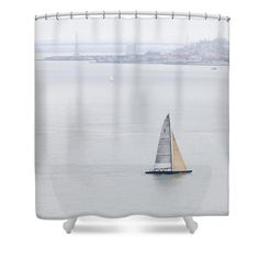 Lonely Boat in San Francisco Bay Shower Curtain