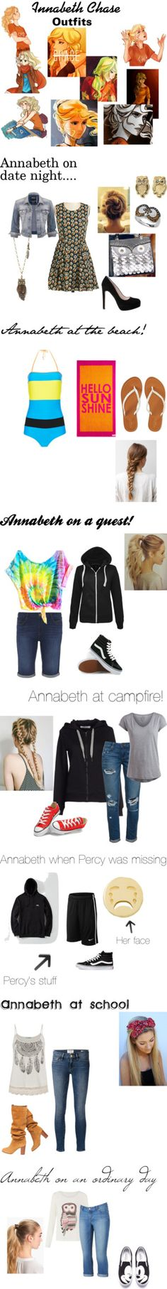 Annabeth Chase outfits! by broadwaygeek on Polyvore featuring art, De Siena, Silver Jeans Co., Youshine, De Buman, Aéropostale, Roksanda Ilincic, Dorothy Perkins, Vans and ONLY