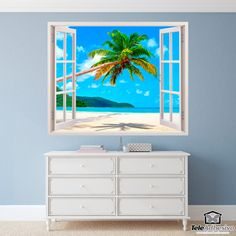 Wall Stickers Palm tree on Caribbean beach Window Wall, Decoration, Strand, Palm Trees, Wall Stickers, Caribbean, Shabby Chic, Room Decor, Hand Painted