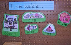 I Can Build A... display for the construction/block center. This could be helpful for children who are reluctant to use that center