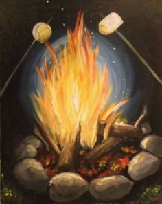 Learn to Paint Toasty Marshmellows tonight at Paint Nite! Our artists know exactly how to teach painters of all levels - give it a try! Summer Painting, Diy Painting, Painting & Drawing, Easy Canvas Painting, Wine And Canvas, Learn To Paint, Pictures To Paint, Acrylic Art, Painting Inspiration