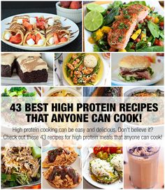 High protein cooking can be easy and delicious. Don't believe it? Check out these 43 recipes for high protein meals that anyone can cook!