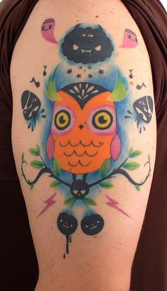 Tado Owl Tattoo!    I am so exited to share my new tattoo with everyone. I summoned the amazing powers of TADO to create an owl design for me. And the ever so talented Scott Lukas of Blackout Creations slayed the ink.    tado.co.uk  blackout-creations.com    Check out the t-shirt design TADO did for Owl Movement at owlmovement.com