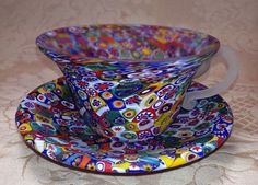 GLASS MILLEFIORI TEACUP AND SAUCER ~ CRAZY QUILT VENETIAN GLASS MOSAIC