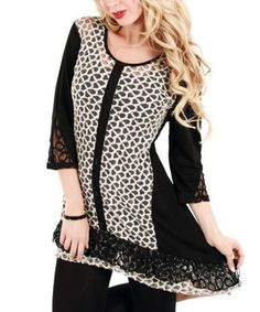 Look what I found on #zulily! Black & White Sheer Patchwork Tunic by Lily #zulilyfinds