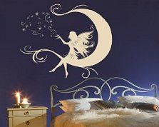 Moon Fairy Vinyl Wall Sticker Decal - available in a variety of colors