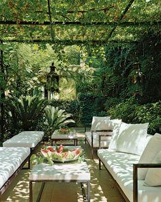 Eksotisk plante overdækket terrasse